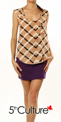 Checkered Print Cross Back SL Top