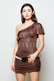 One Shoulder Ruffle Belted Ruched Dress