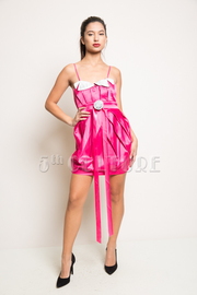 Rosette Two Tone Pleated Dress