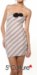Rosette Stripe Strapless Dress
