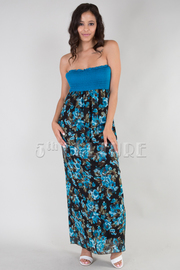 Floral Strapless Smocked Maxi