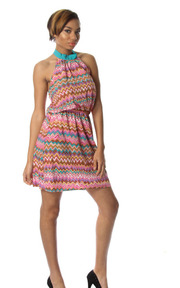 Zig-Zag Print Halter High Waist Mini Dress