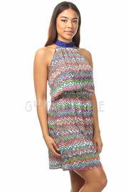 Zig-Zag Print Halter High Waist Mini Dress