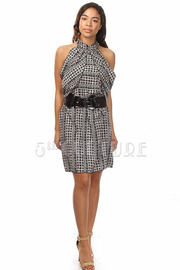 Hounds-Tooth Print SL Belted Dress