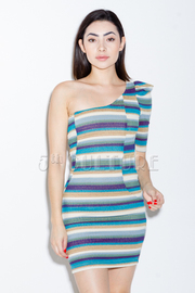 One Shoulder Crochet Mini Dress