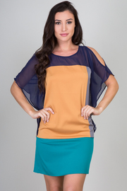 Color Block Open Shoulder Dress