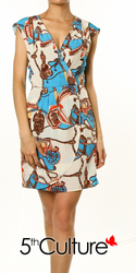 Print Asymmetric Pleated Dress