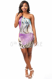 Metallic Shimmer One Shoulder Mini Dress