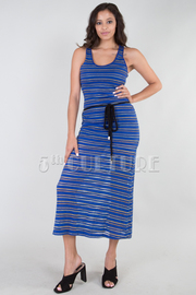 Metallic Striped Tank Maxi Dress w/ Waist Tie
