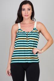 Zipper Front Stripe Top