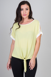 Front Tie Split Sleeve Top