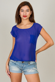 Pocket Scoop Neck Split Back Top