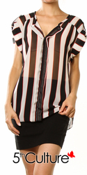 Stripe Cuff Sleeve Chiffon Top