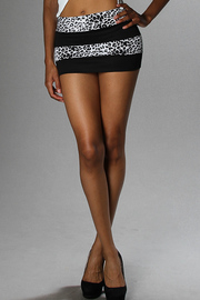 Leopard & Solid Stripe Mini Skirt