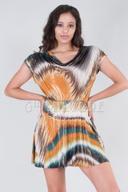 Split Open Back Print Dress