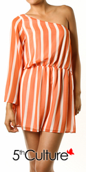 Vertical Striped Asymmetric Dress