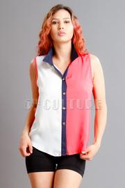 Tri-Colorblocked Sleeveless Blouse