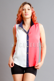 Tri-Colorblocked Sleeveless Blouse