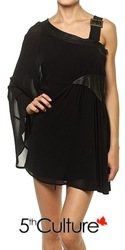 Asymmetric Buckle Strap Mini Dress