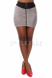 Colorblock Ruched Texture Mini Skirt