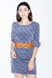 Geometric Print Wide Belt Dress