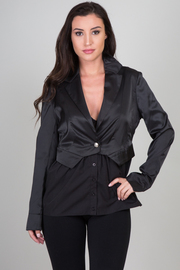 Long Sleeve Relaxed Fit Blazer Jacket w/ Attachable Bottom
