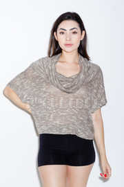 Cropped Mesh Cowl Neck Top