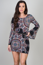 Flower Print Dress With Chain