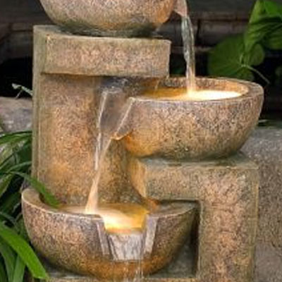4 granite copper bowls garden water feature