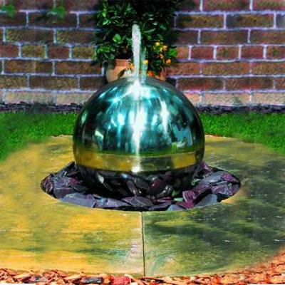 steel sphere water feature