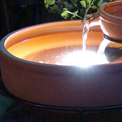 terracotta cascade water feature led light