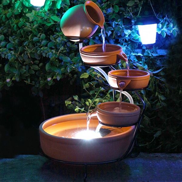 Solar Water Feature Terracotta Cascade With LED Light