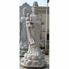 Granite Buddha with Child Sculpture