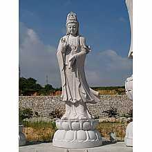Granite Protection Buddha on Lotus Flower Pedestal Sculpture (1)