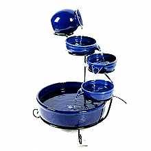 Solar Powered Blue Terracotta Cascade
