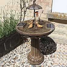Umbrella Fountain Duck Family - Bronze Effect Water Feature