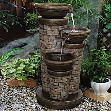 Three Bowl Brick Sandstone Fountain Water Feature