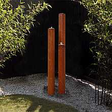 Tresa3 Corten Steel Triple Tubes With Pebble Pool And LED Lights