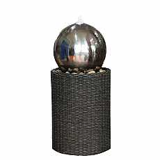 Medium S/S Sphere on Wicker Column Water Feature by Aqua Creations