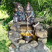 2 Gnomes at Rock Pool Water Feature