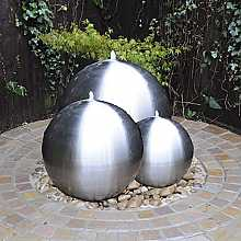 Brushed Stainless Steel Triple Sphere Water Feature With LED Lights