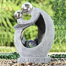 Granite/Black Couple (2 S/S Spheres) Water Feature