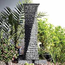 Black Granite Twist Fountain 110cm High Water Feature