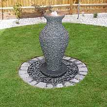 Granite Vase Water Feature By Aqua Moda with LED Lights