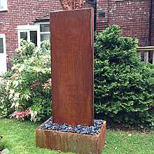 Aqua Moda Corten Steel Staffora 2.1m Garden Water Feature with Corten Steel Base and LED Light