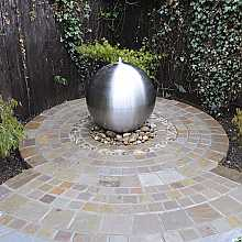Aterno3 30cm Brushed Stainless Steel Sphere Water Feature With LED Lights