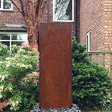 Aqua Moda Corten Steel Staffora 1.2m Garden Water Feature with Pebble Pool Base and LED Light