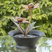 Indoor Table Top Copper Flower Water Feature