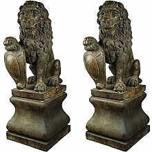 Henri Studios Classic Twin Lion With Pedestal in Relic Lava Statue