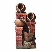 Kelkay Brick & Bowl Spills Water Feature with LED Lights